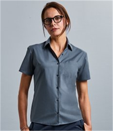 Ladies' Short Sleeve Polycotton Easy Care Poplin Shirt